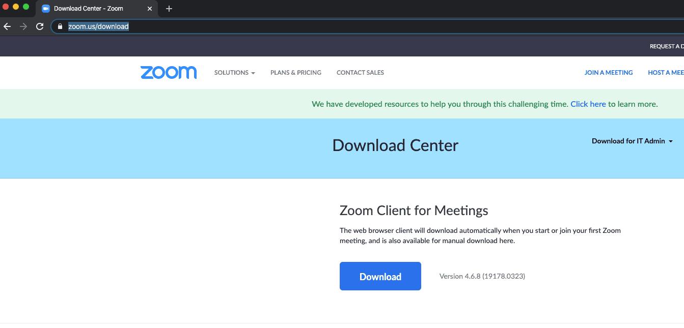 zoom download center screenshot